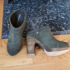 Army green suede clog. Never worn.